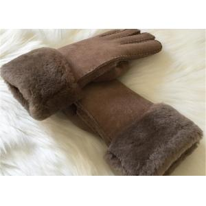 China Warmest Sheepskin Leather gloves MENS SUEDE SHEARLING LINED WINTER GLOVES on sale