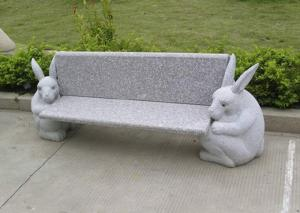 China Outdoor Stone Garden Sculptures Garden Stone Bench With Animal Carving on sale