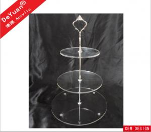 3 Layers Acrylic Transparent Round Cake Stand With Golden Or