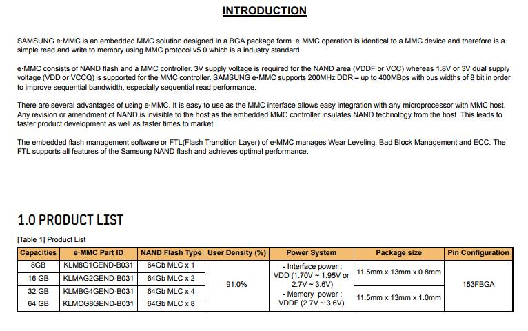 Samsung Emmc List