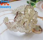 latest fashion design romantic bride graven big flower charm cuff bridal silver bracelet