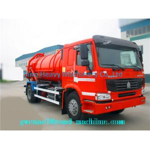 China 6 Cubic Meters Diesel Sewage Suction Truck with 5m Suction Depth , Red on sale