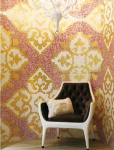 China La pared de cristal del mosaico teja el modelo de mosaico de lujo del oro para la decoración de la sala de estar on sale