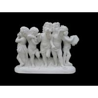 Hand Carved White Marble Stone Kid Boy Nude Angel Statue
