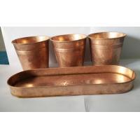 Copper patina finish metal flower pot planter