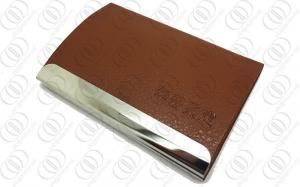China Brown Leatherette BusinessMagnetic Credit Card Holder 316L Stainless Steel on sale