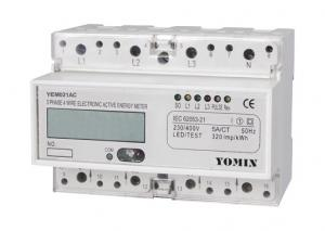 China CT / 5A 3 Phase Active Din Rail KWH Meter With Pulse Output  & Liquid Crystal Display on sale