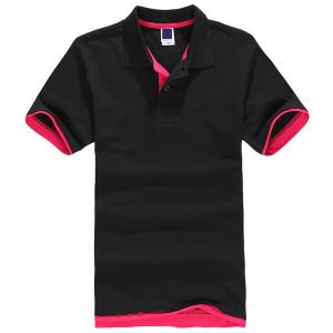 China OEM 100% Cotton Short Sleeve Red Striped Polo shirts for Men on sale