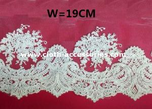 China 10 Wide Scalloped Embroidered Lace Fabric Bridal For Wedding Dresses on sale
