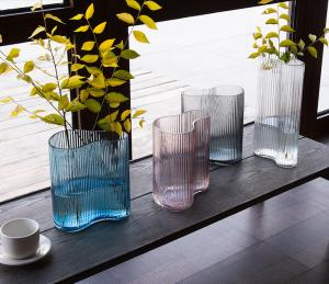 China Vertical Stripes Irregular Decorative Glass Vases Handmade Tabletop With 3 Size on sale
