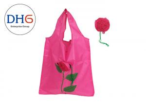China Pink Sturdy Polyester Tote Bags , Reusable Tote Bags Embroidered Hand Crafted on sale