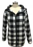 100% Polyester Womens Plaid Winter Coat , Womens Bomber Jacket With Hood