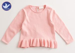 China Frill Welt Girls Pink Sweater , Girls Crew Neck Sweater Back Neck Button Closure on sale