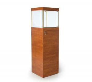 China Light Oak Perfume Display Cabinet Stand Up Display Case For Shopping Mall on sale