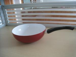 China 30cm Red Ceramic Coating Induction Wok Pan , Nonstick Stamped Woks on sale