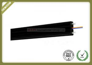 China 2core FTTH Fiber Optic Cable FRP Strength Member black color with SC Connector on sale