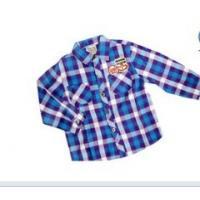 100% Cotton Anti - Pilling Long Sleeve Lapel Kids Plaid Shirts With OEM Blue, Black, Red