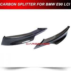 57cc58a7cd1 CARBON FIBER FRONT LIP SPOILER SPLITTERS for 09-11 BMW E90 E91 LCI M TECH  BUMPER
