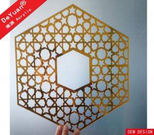 China Home Decoration Golden Mirror Acrylic Sheet Wall Sticker Laser Cutting on sale