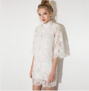 China Women Sexy Lace Embroidery Dress Half Sleeves Mini Dresses for Wholesale on sale