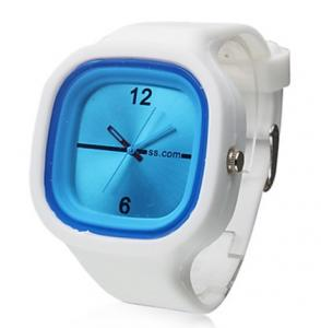 China White Quartz Analog Sports Silicone Jelly Watch For Teenager on sale
