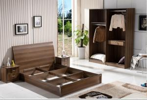 China Cheap  style rent Apartment home furniture melamine plate bed 1.2m- 1.5m-1.8 m light walnut color on sale