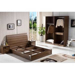 China Cheap IKEA style rent Apartment home furniture melamine plate bed 1.2m- 1.5m-1.8 m light walnut color on sale