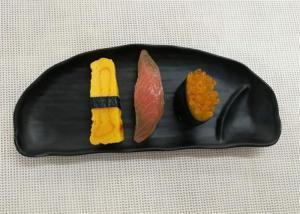 China Half-moon Black Melamine Plate Imitation Porcelain Dinnerware Sets Length 27cm on sale