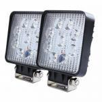 "China 27W Square LED Work Light 3W High Power Epistar LEDs Off-road  Flood beam 10-30V 4.3"" Slim profile wholesale"