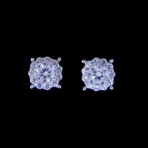 China Simple Cubic Zirconia Stud Earrings One Main Stone 925 Silver Jewelry For Ladies on sale
