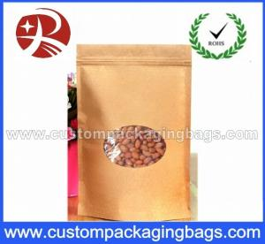 China Laminated Zip Lock Kraft Paper Stand Up Pouches For Food With Ground Clear Window on sale