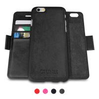 iPhone Black Genuine Leather Wallet Case with Detachable Folio / Credit Card Slot