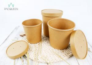 China Soup Takeaway Food Containers Kraft Paper PE / PLA Lined Anti Leaking on sale