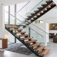 high quality double beam solid wooden stairs for sale