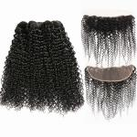 Kinky Curl Undye Color 3 Bundles Peruvian Virgin Hair Weave Wih Frontal No Shedding