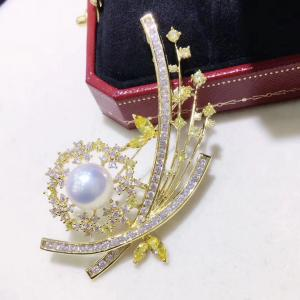 China 9-10mm  Luxury Genunie South Sea Black Pearl Brooch pin jewelry Plated 18K Gold Butturfly Pin in yellow gold color on sale