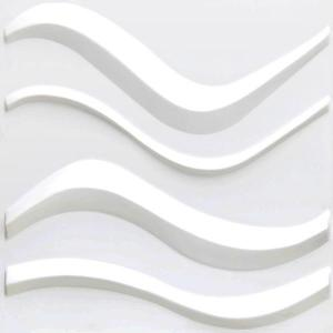 China PVC Material 3D Plastic Wall Tiles , White Interior 3D Wave Wall Panels on sale