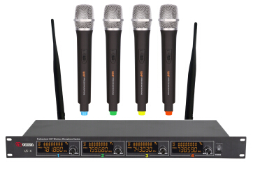 310 top wireless microphone system UHF 4-channels 200 channels LCD display PLL infrared