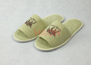 b3527520e36cd Quality Custom Cream Hotel Disposable Slippers Mucilage Printing Logo for  sale ...