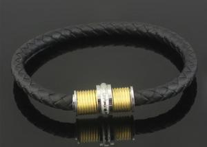 China Men's Titanium Steel Jewelry Wholesale Leather Bracelet Rotating Threaded Buckle Male And Female Couple Leather Bracelet on sale