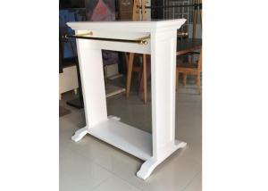 Quality White Mobile Gondola Display Stands Two Ways Light Duty With Golden Hanging Bar for sale