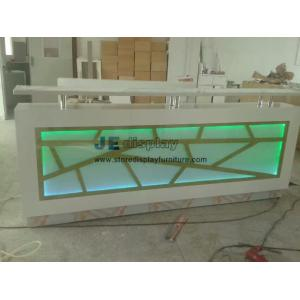 China Customized Millwork Reception counters in white wood structure inlay Acrylic panel with Variable color LED light on sale