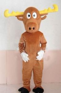 China Custom Adults Brown Reindeer Animal Mascot Costume  on sale