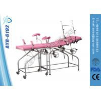 Two Sections Simple Manual Obstetric Delivery Bed Gynecology Chair Pink