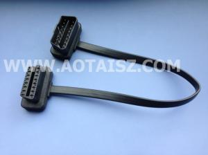 China Ultrathin Right-angle OBD2 Male to OBD2 Female Extension Cable Ribbon cable on sale