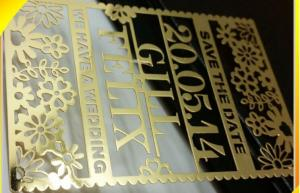 China wedding card & invatation card laser cutting metal card on sale