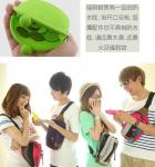 China Eco-friendly Green Silicone Coin Purse With Custom LOGO, Zip / Kiss Lock 90 * 72 * 40mm wholesale