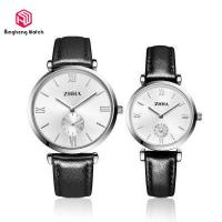Elegant Black Couple Wrist Watches Round Case Leather Band For Lover