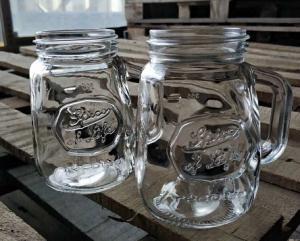 China 350ml Glass Storage Jars / Customized Glass Mason Jars With Lid on sale