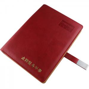 China Red PU cover custom leather agenda_China printing factory on sale